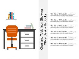 Chair And Table Icon Showing Office Desk With Books