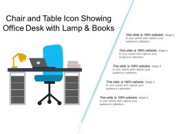Chair And Table Icon Showing Office Desk With Lamp And Books