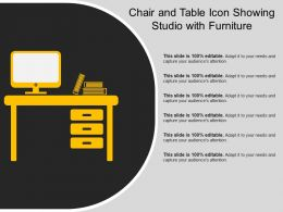 Chair And Table Icon Showing Studio With Furniture