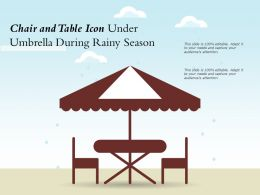 Chair And Table Icon Under Umbrella During Rainy Season
