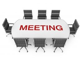 Chairs And Table For Team Meeting With Word Meeting Stock Photo