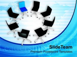 Chairs In Circle With Leader Finance PowerPoint Templates PPT Themes And Graphics 0213