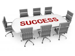 Chairs With Conference Table And Word Success Stock Photo