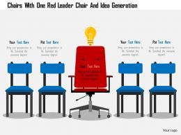 Chairs With One Red Leader Chair And Idea Generation Flat Powerpoint Design