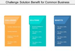 Challenge Solution Benefit For Common Business