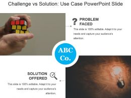 Challenge Vs Solution Use Case Powerpoint Slide