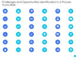 Challenges And Opportunities Identification In A Process Icons Slide Ppt Themes