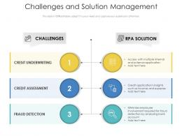 Challenges And Solution Management