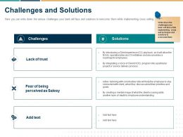 Challenges And Solutions Ppt Powerpoint Presentation Slides Example Topics