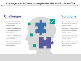 Challenges And Solutions Showing Head Of Man With Puzzle And Tick