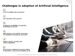 Challenges In Adoption Of Artificial Intelligence Data Ppt Powerpoint Gallery