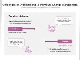 Challenges Of Organizational And Individual Change Management