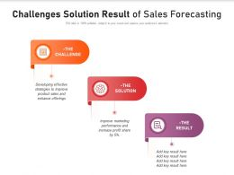 Challenges Solution Result Of Sales Forecasting