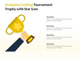 Champion Holding Tournament Trophy With Star Icon