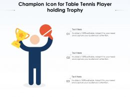 Champion Icon For Table Tennis Player Holding Trophy