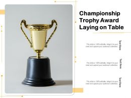 Championship Trophy Award Laying On Table