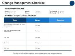 Change Management Checklist Ppt Powerpoint Presentation File Infographics