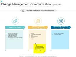 Change Management Communication Option 2 Of 2 Face Organizational Change Strategic Plan Ppt Demonstration