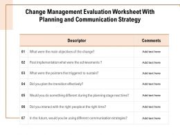 Change Management Evaluation Worksheet With Planning And Communication Strategy