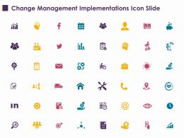 Change Management Implementations Icon Slide Ppt Powerpoint Presentation File Ideas