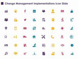 Change Management Implementations Icon Slide Ppt Powerpoint Presentation File Ideas