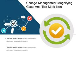 Change Management Magnifying Glass And Tick Mark Icon