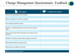 Change Management Questionnaire Feedback Powerpoint Slide Inspiration
