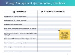 Change Management Questionnaire Feedback Powerpoint Slides