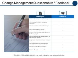 Change Management Questionnaire Feedback Ppt Powerpoint Presentation File Pictures
