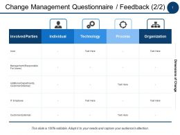 Change Management Questionnaire Feedback Technology Ppt Powerpoint Presentation File Outline