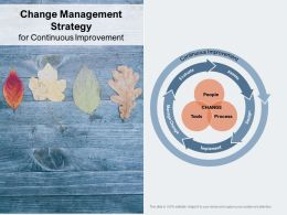 Change Management Strategy For Continuous Improvement
