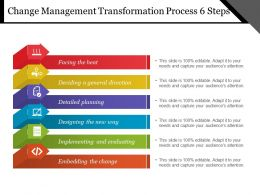 Change Management Transformation Process 6 Steps Example Of Ppt