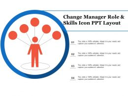 Change Manager Role And Skills Icon Ppt Layout