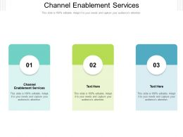 Channel Enablement Services Ppt Powerpoint Presentation Model Inspiration Cpb