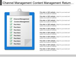 Channel Management Content Management Return Investment Executive Summary