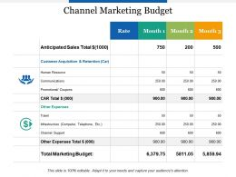 Channel Marketing Budget Human Resource Powerpoint Presentation Outline Graphics Example