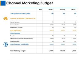 Channel Marketing Budget Human Resource Ppt Layouts Background Designs