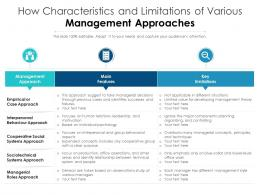Characteristics And Limitations Of Various Management Approaches