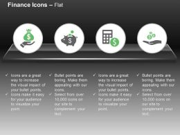 Charity Financial Saving Calculator And Dollar Sign Alms Ppt Icons Graphics