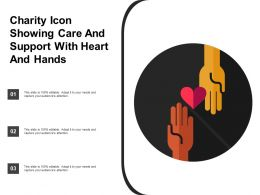 Charity Icon Showing Care And Support With Heart And Hands