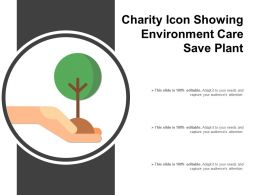 Charity Icon Showing Environment Care Save Plant