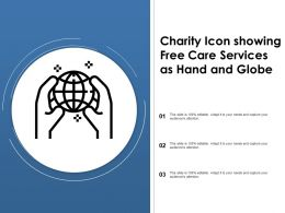 Charity Icon Showing Free Care Services As Hand And Globe