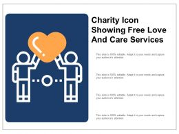 Charity Icon Showing Free Love And Care Services