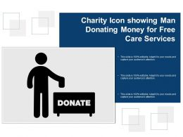 Charity Icon Showing Man Donating Money For Free Care Services