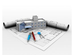 Chart With House Model And Pencils For Architecture Stock Photo