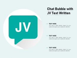 Chat Bubble With JV Text Written