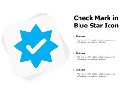 Check Mark In Blue Star Icon