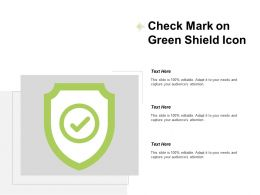 Check Mark On Green Shield Icon