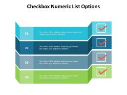Checkbox Numeric List Options