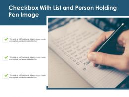 Checkbox With List And Person Holding Pen Image